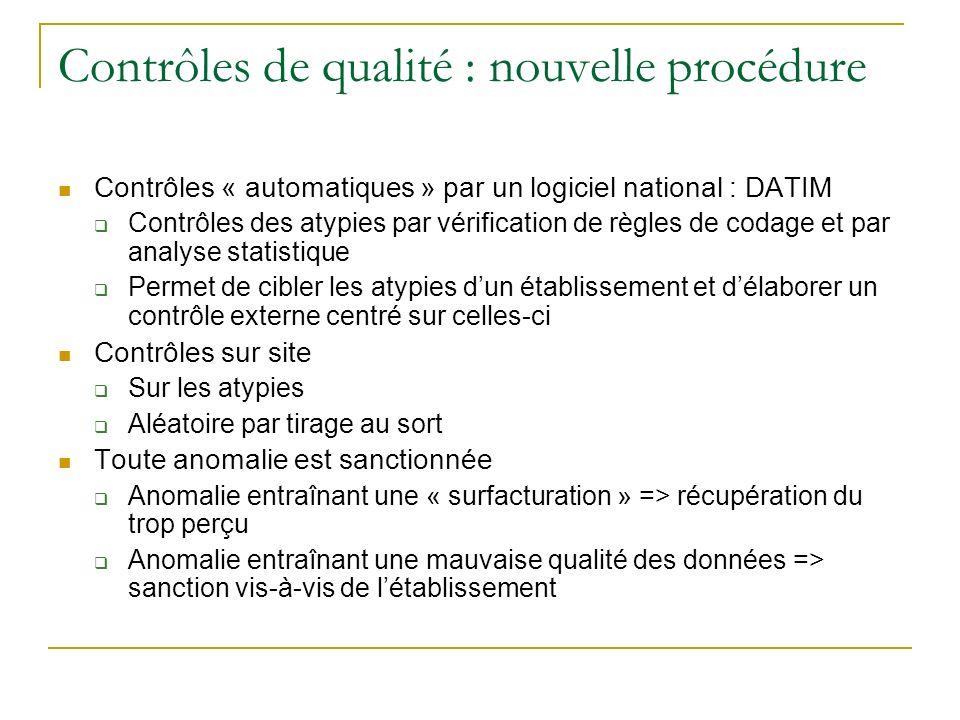 Contrôles de qualité : nouvelle procédure Contrôles « automatiques » par un logiciel national : DATIM Contrôles des atypies par vérification de règles