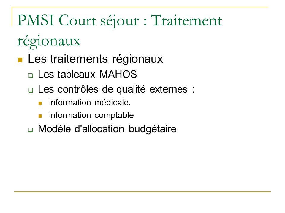 PMSI Court séjour : Traitement régionaux Les traitements régionaux Les tableaux MAHOS Les contrôles de qualité externes : information médicale, information comptable Modèle d allocation budgétaire