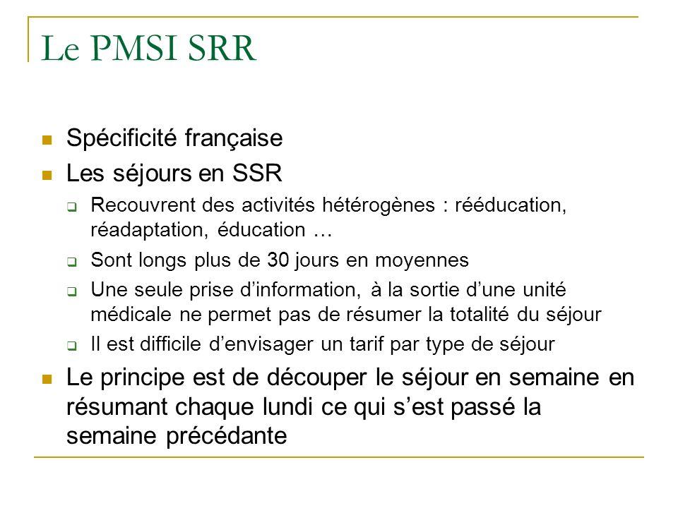 Le PMSI SRR Spécificité française Les séjours en SSR Recouvrent des activités hétérogènes : rééducation, réadaptation, éducation … Sont longs plus de 30 jours en moyennes Une seule prise dinformation, à la sortie dune unité médicale ne permet pas de résumer la totalité du séjour Il est difficile denvisager un tarif par type de séjour Le principe est de découper le séjour en semaine en résumant chaque lundi ce qui sest passé la semaine précédante