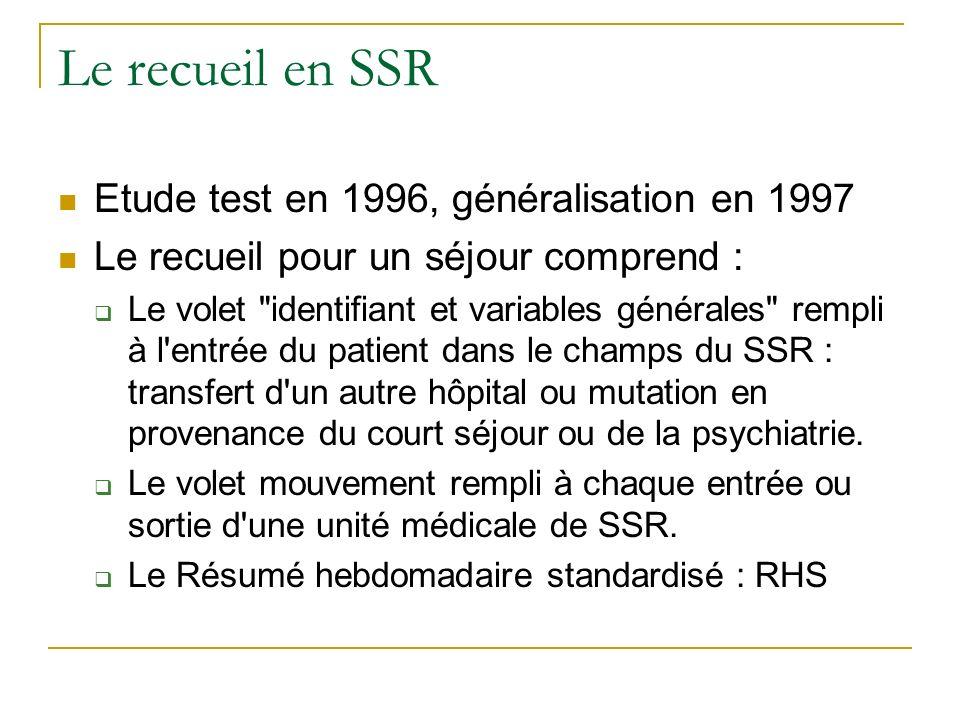 Le recueil en SSR Etude test en 1996, généralisation en 1997 Le recueil pour un séjour comprend : Le volet identifiant et variables générales rempli à l entrée du patient dans le champs du SSR : transfert d un autre hôpital ou mutation en provenance du court séjour ou de la psychiatrie.