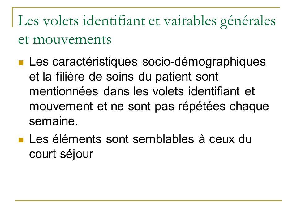 Les volets identifiant et vairables générales et mouvements Les caractéristiques socio-démographiques et la filière de soins du patient sont mentionnées dans les volets identifiant et mouvement et ne sont pas répétées chaque semaine.