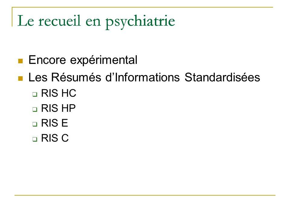 Le recueil en psychiatrie Encore expérimental Les Résumés dInformations Standardisées RIS HC RIS HP RIS E RIS C Le recueil en psychiatrie