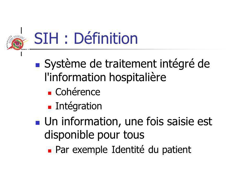 SIH : Approche centralisée Il donne accès en temps réel au dossier du patient, au dossier de soins infirmiers et à de nombreuses bases de données (médicaments, guide de prescriptions, guide d interprétation