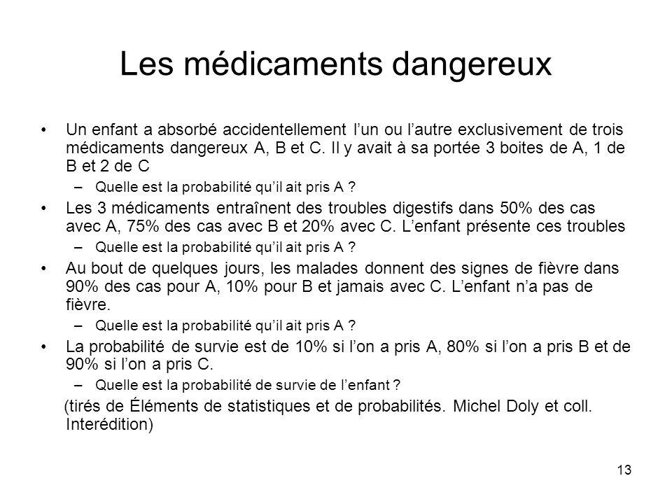 13 Les médicaments dangereux Un enfant a absorbé accidentellement lun ou lautre exclusivement de trois médicaments dangereux A, B et C. Il y avait à s