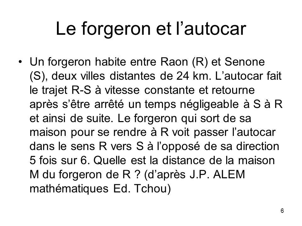 6 Le forgeron et lautocar Un forgeron habite entre Raon (R) et Senone (S), deux villes distantes de 24 km. Lautocar fait le trajet R-S à vitesse const