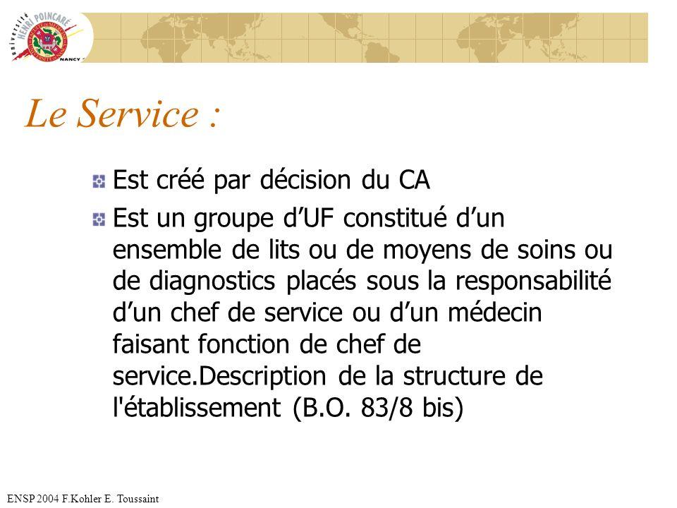 ENSP 2004 F.Kohler E. Toussaint Le Service : Est créé par décision du CA Est un groupe dUF constitué dun ensemble de lits ou de moyens de soins ou de