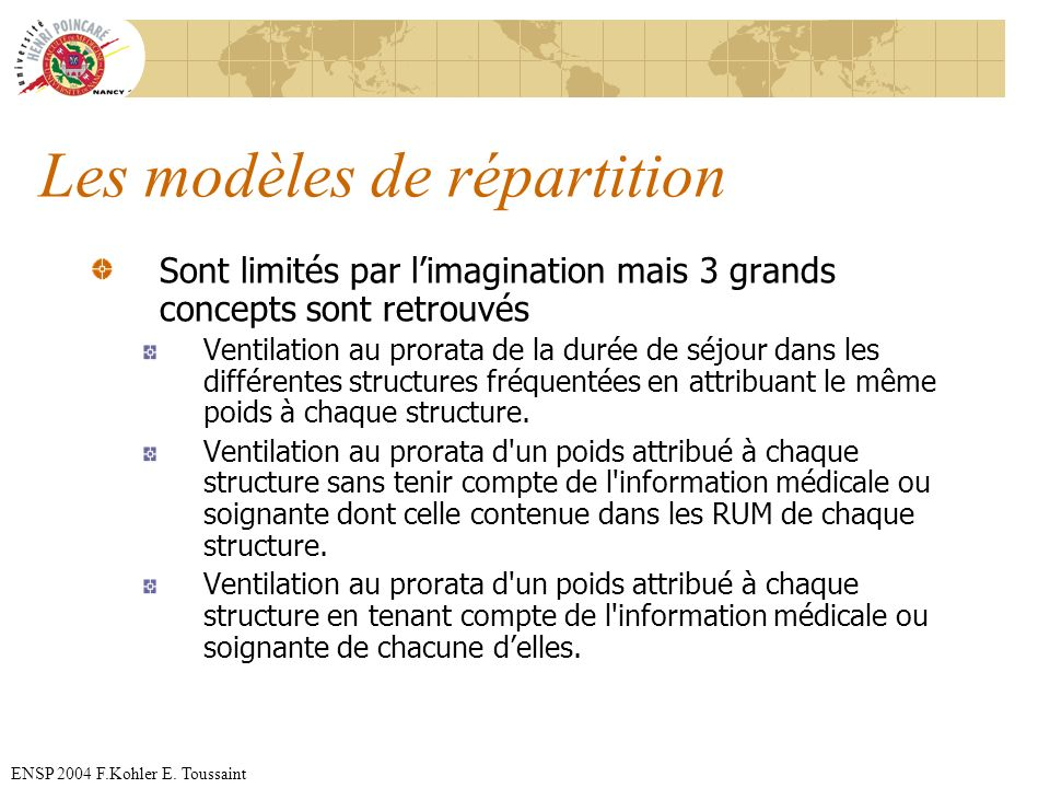 ENSP 2004 F.Kohler E. Toussaint Les modèles de répartition Sont limités par limagination mais 3 grands concepts sont retrouvés Ventilation au prorata