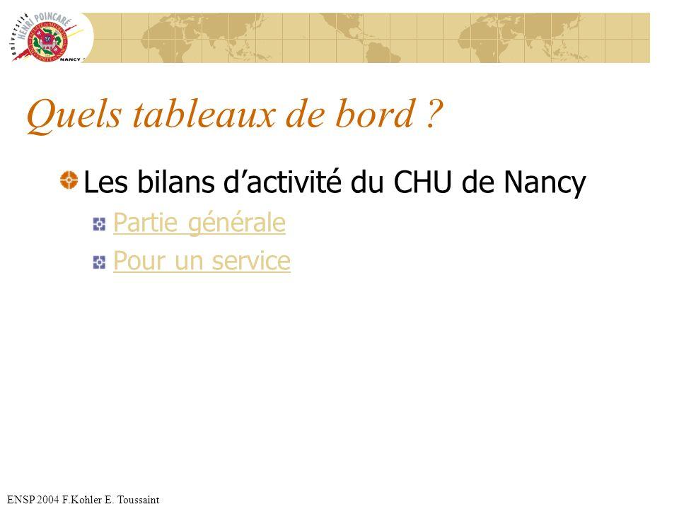 ENSP 2004 F.Kohler E. Toussaint Quels tableaux de bord ? Les bilans dactivité du CHU de Nancy Partie générale Pour un service