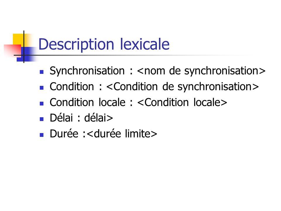 Description lexicale Synchronisation : Condition : Condition locale : Délai : délai> Durée :
