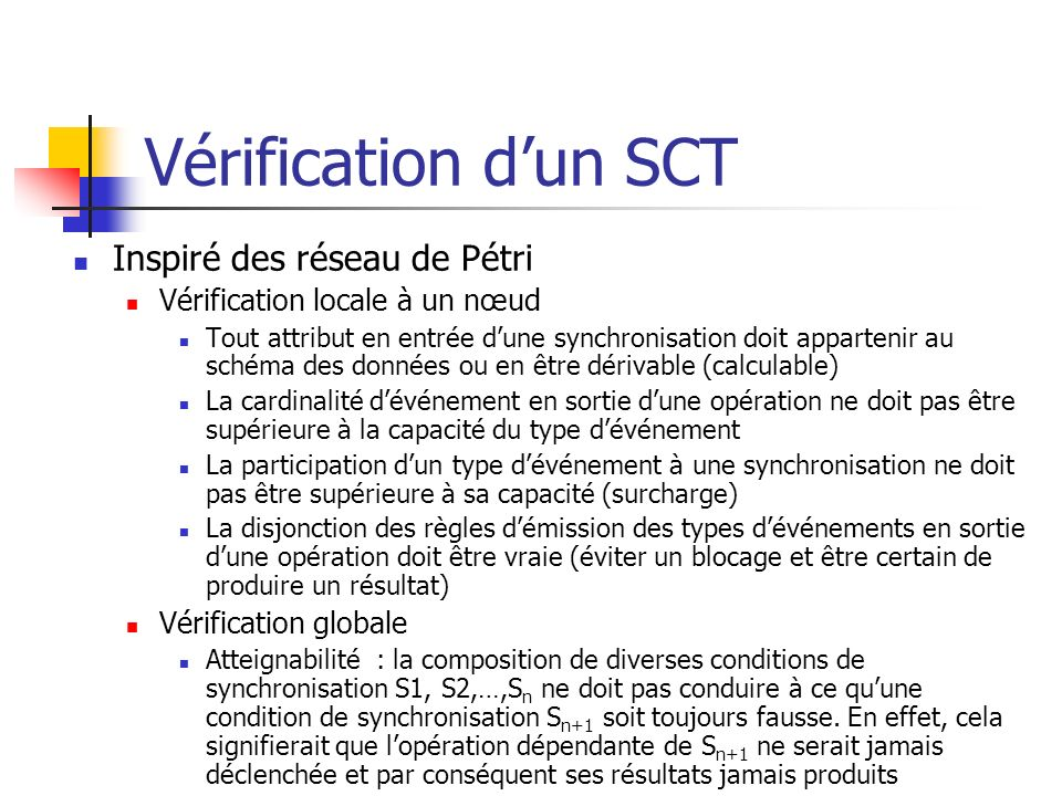 Vérification dun SCT Inspiré des réseau de Pétri Vérification locale à un nœud Tout attribut en entrée dune synchronisation doit appartenir au schéma