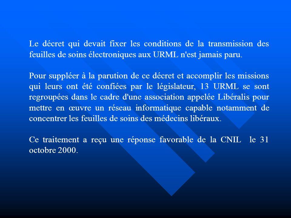 Le décret qui devait fixer les conditions de la transmission des feuilles de soins électroniques aux URML n est jamais paru.