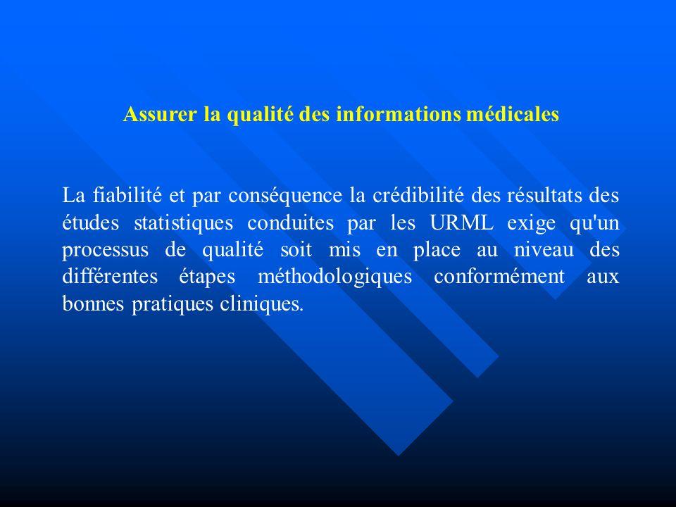 Assurer la qualité des informations médicales La fiabilité et par conséquence la crédibilité des résultats des études statistiques conduites par les URML exige qu un processus de qualité soit mis en place au niveau des différentes étapes méthodologiques conformément aux bonnes pratiques cliniques.