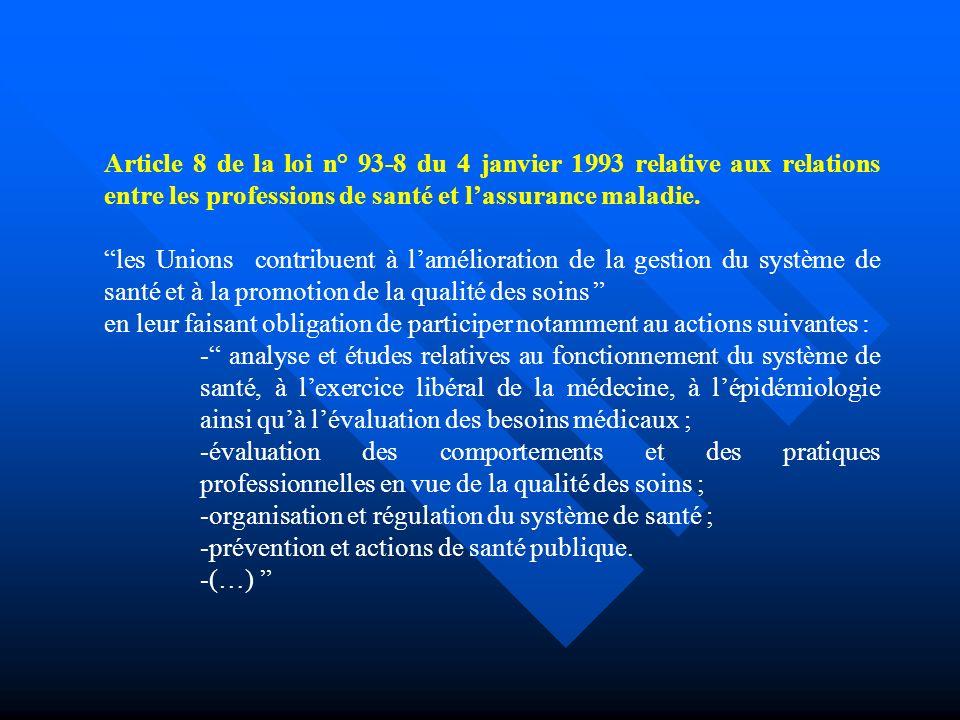 Article 8 de la loi n° 93-8 du 4 janvier 1993 relative aux relations entre les professions de santé et lassurance maladie.