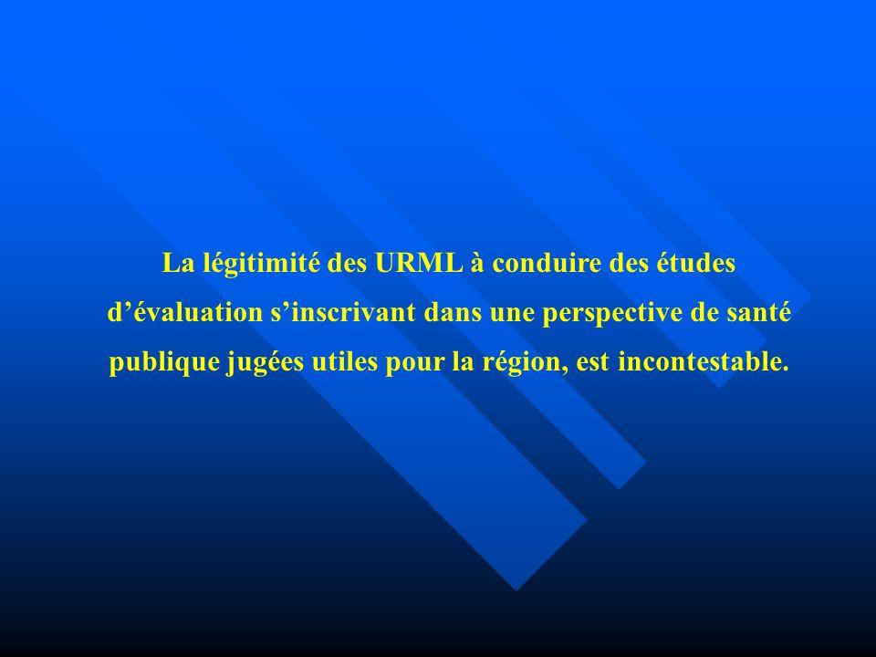 La légitimité des URML à conduire des études dévaluation sinscrivant dans une perspective de santé publique jugées utiles pour la région, est incontestable.