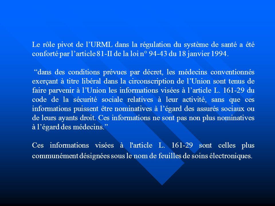 Le rôle pivot de lURML dans la régulation du système de santé a été conforté par larticle 81-II de la loi n° 94-43 du 18 janvier 1994.