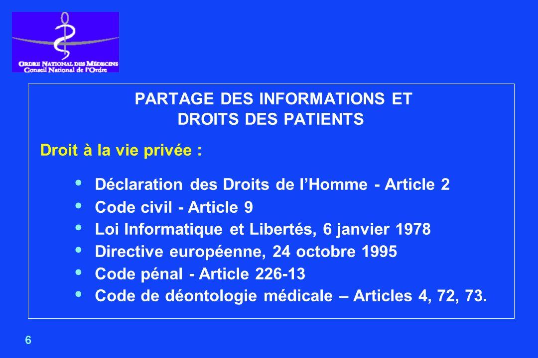 7 CODE DE DÉONTOLOGIE MÉDICALE ARTICLE 4 Le secret professionnel, institué dans l intérêt des patients, s impose à tout médecin dans les conditions établies par la loi.
