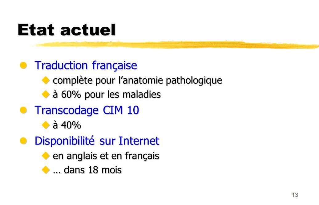 13 Etat actuel lTraduction française ucomplète pour lanatomie pathologique uà 60% pour les maladies lTranscodage CIM 10 uà 40% lDisponibilité sur Inte