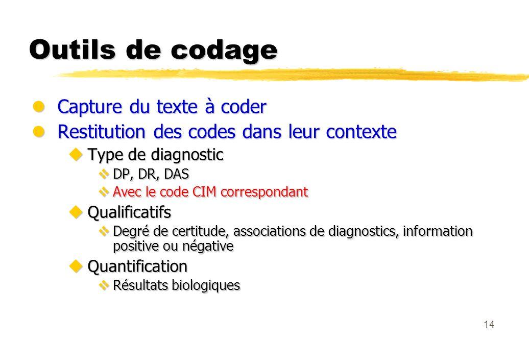 14 Outils de codage lCapture du texte à coder lRestitution des codes dans leur contexte uType de diagnostic vDP, DR, DAS vAvec le code CIM corresponda