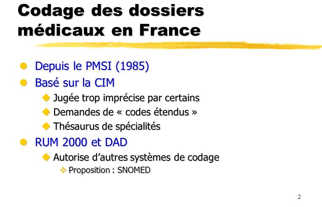 2 Codage des dossiers médicaux en France lDepuis le PMSI (1985) lBasé sur la CIM uJugée trop imprécise par certains uDemandes de « codes étendus » uTh