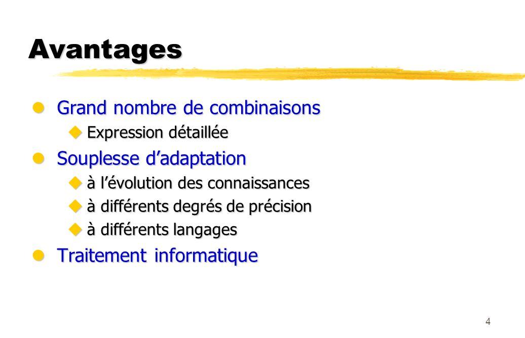 4 Avantages lGrand nombre de combinaisons uExpression détaillée lSouplesse dadaptation uà lévolution des connaissances uà différents degrés de précisi