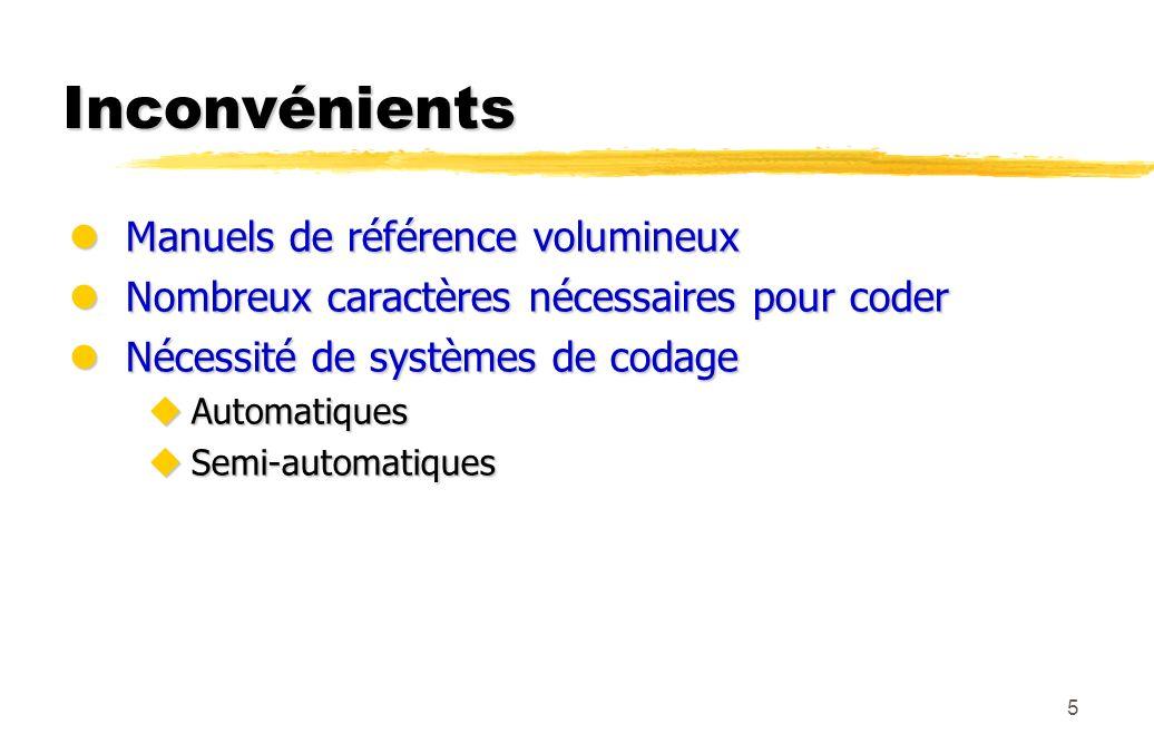 5 Inconvénients lManuels de référence volumineux lNombreux caractères nécessaires pour coder lNécessité de systèmes de codage uAutomatiques uSemi-auto