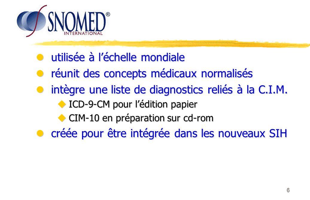 6 lutilisée à léchelle mondiale lréunit des concepts médicaux normalisés lintègre une liste de diagnostics reliés à la C.I.M. uICD-9-CM pour lédition