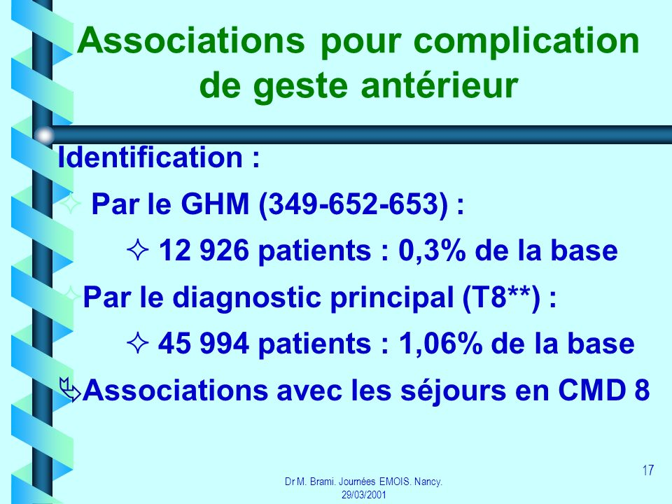 Dr M. Brami. Journées EMOIS. Nancy. 29/03/2001 17 Associations pour complication de geste antérieur Identification : Par le GHM (349-652-653) : 12 926
