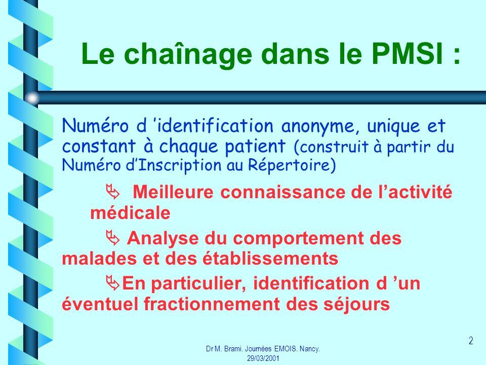 Dr M. Brami. Journées EMOIS. Nancy. 29/03/2001 2 Le chaînage dans le PMSI : Numéro d identification anonyme, unique et constant à chaque patient (cons