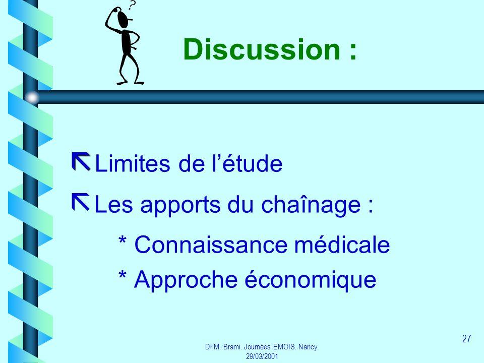 Dr M. Brami. Journées EMOIS. Nancy. 29/03/2001 27 Discussion : Limites de létude ã ã Les apports du chaînage : * Connaissance médicale * Approche écon