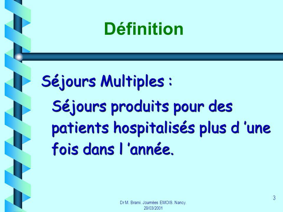 Dr M. Brami. Journées EMOIS. Nancy. 29/03/2001 3 Définition Séjours Multiples : Séjours produits pour des patients hospitalisés plus d une fois dans l