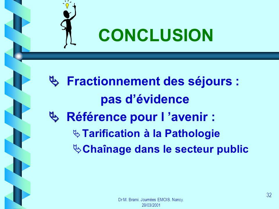 Dr M. Brami. Journées EMOIS. Nancy. 29/03/2001 32 CONCLUSION Fractionnement des séjours : pas dévidence Référence pour l avenir : Tarification à la Pa