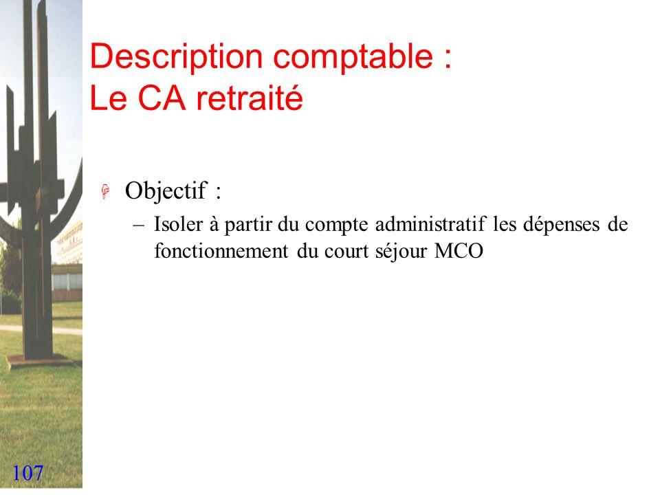 107 Description comptable : Le CA retraité H Objectif : –Isoler à partir du compte administratif les dépenses de fonctionnement du court séjour MCO