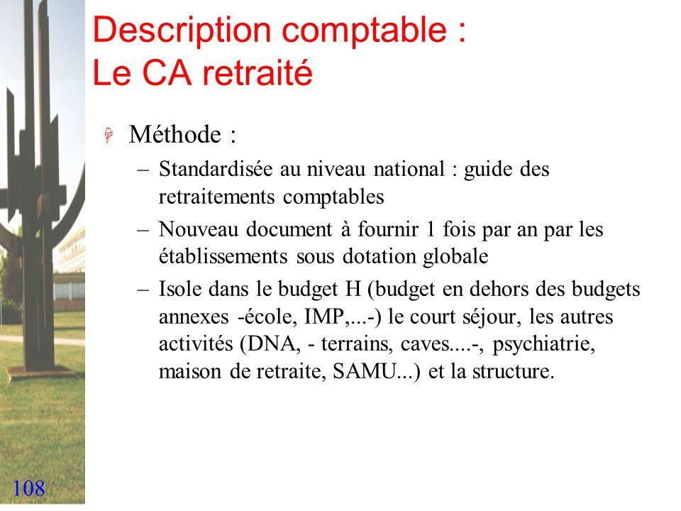 108 Description comptable : Le CA retraité H Méthode : –Standardisée au niveau national : guide des retraitements comptables –Nouveau document à fourn