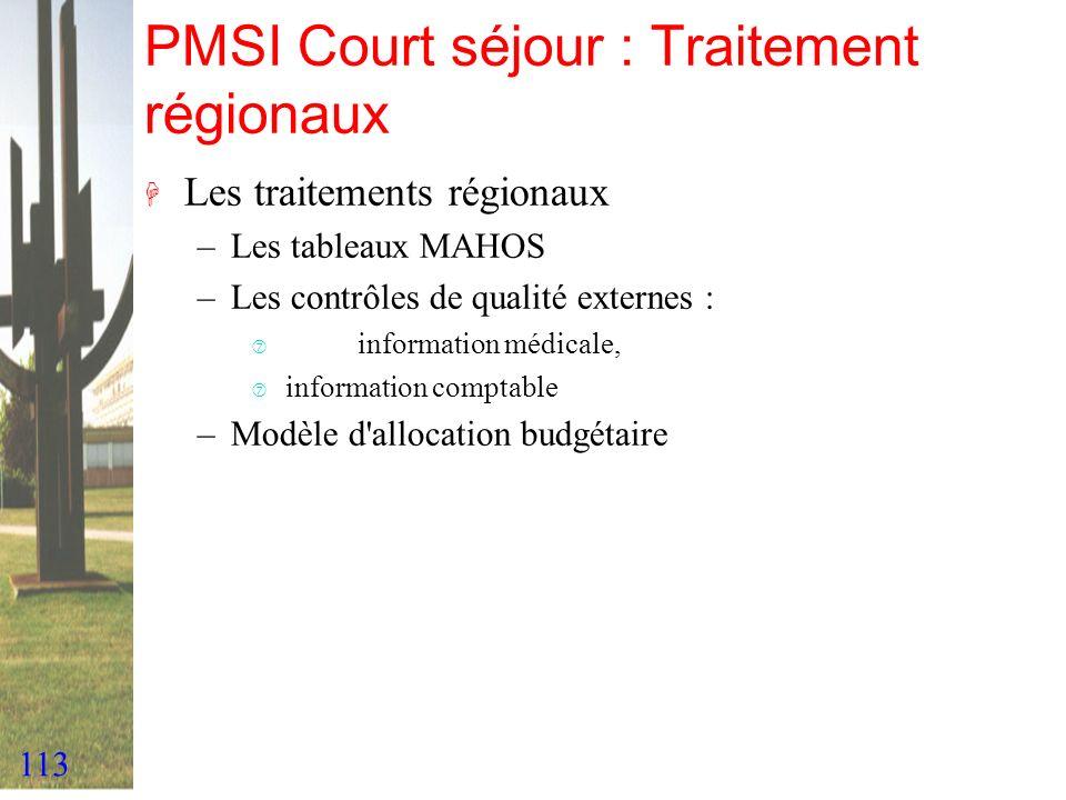 113 PMSI Court séjour : Traitement régionaux H Les traitements régionaux –Les tableaux MAHOS –Les contrôles de qualité externes : ‡ information médica