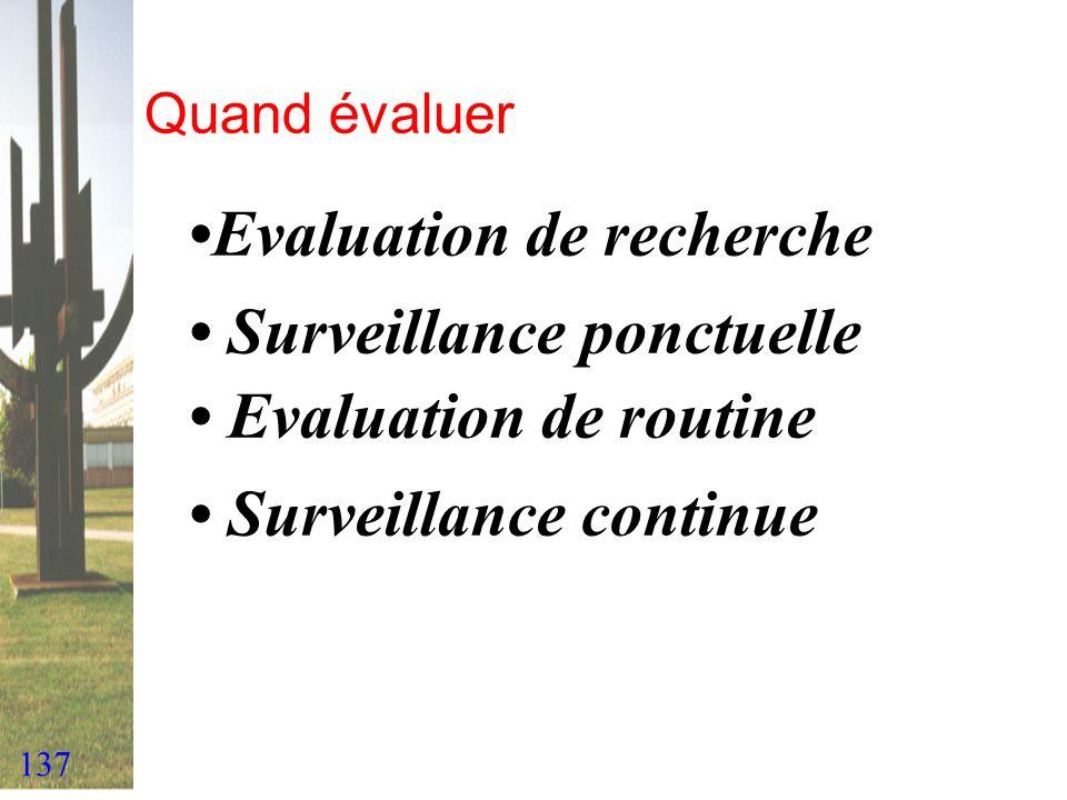 137 Quand évaluer Evaluation de recherche Surveillance ponctuelle Evaluation de routine Surveillance continue
