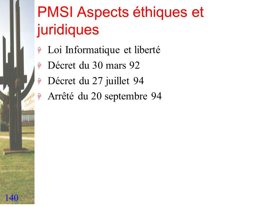 140 PMSI Aspects éthiques et juridiques H Loi Informatique et liberté H Décret du 30 mars 92 H Décret du 27 juillet 94 H Arrêté du 20 septembre 94