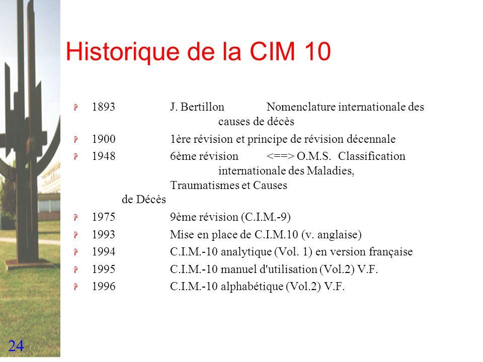 24 Historique de la CIM 10 H 1893J. BertillonNomenclature internationale des causes de décès H 19001ère révision et principe de révision décennale H 1