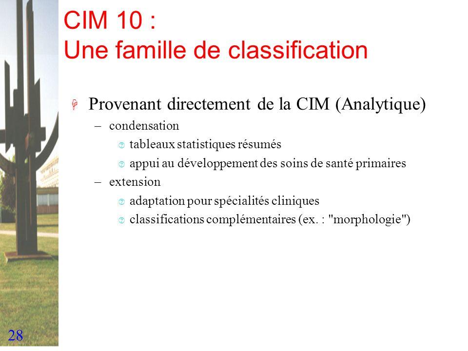 28 CIM 10 : Une famille de classification H Provenant directement de la CIM (Analytique) –condensation ‡ tableaux statistiques résumés ‡ appui au déve