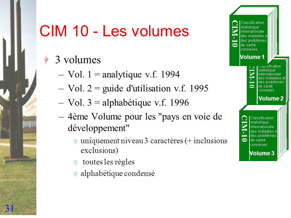 31 CIM 10 - Les volumes Volume 1 Volume 3 Volume 2 H 3 volumes –Vol. 1 = analytique v.f. 1994 –Vol. 2 = guide d'utilisation v.f. 1995 –Vol. 3 = alphab