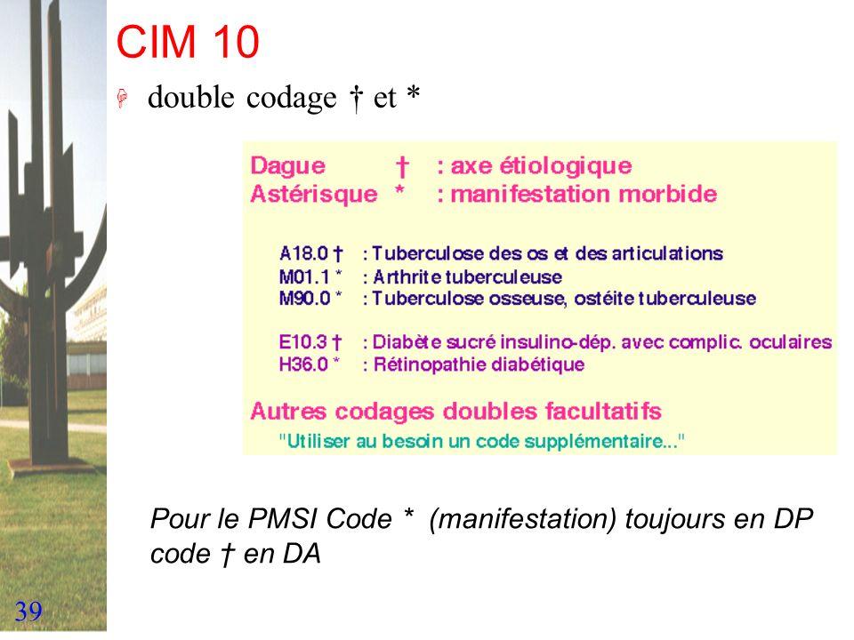 39 CIM 10 H double codage et * Pour le PMSI Code * (manifestation) toujours en DP code en DA