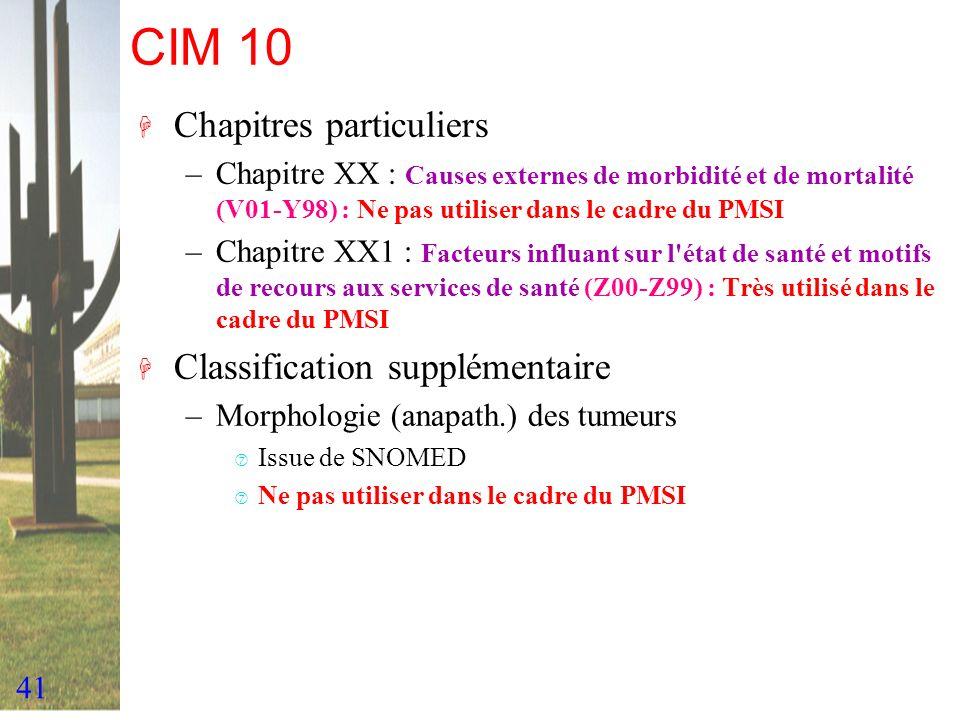41 CIM 10 H Chapitres particuliers –Chapitre XX : Causes externes de morbidité et de mortalité (V01-Y98) : Ne pas utiliser dans le cadre du PMSI –Chap
