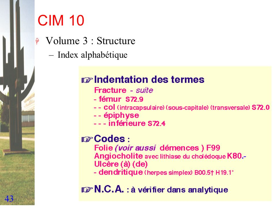 43 CIM 10 H Volume 3 : Structure –Index alphabétique