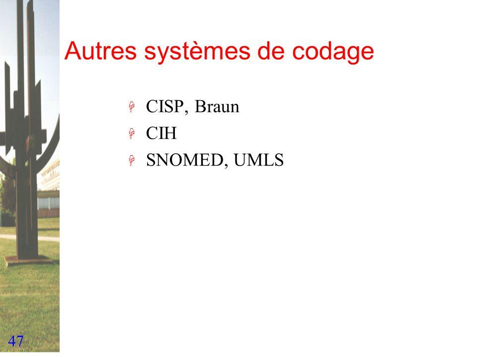 47 Autres systèmes de codage H CISP, Braun H CIH H SNOMED, UMLS