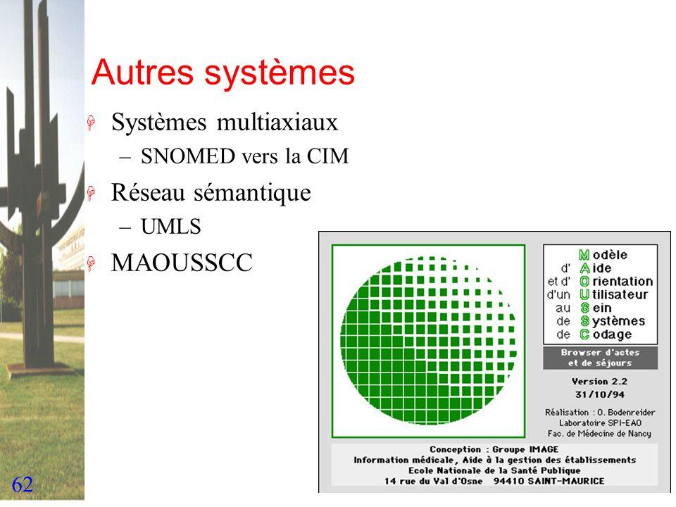 62 Autres systèmes H Systèmes multiaxiaux –SNOMED vers la CIM H Réseau sémantique –UMLS H MAOUSSCC