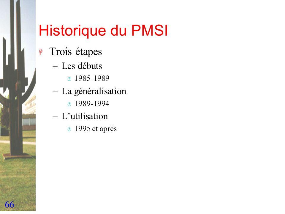 66 Historique du PMSI H Trois étapes –Les débuts ‡ 1985-1989 –La généralisation ‡ 1989-1994 –Lutilisation ‡ 1995 et après