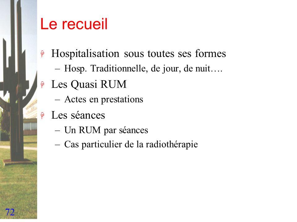 72 Le recueil H Hospitalisation sous toutes ses formes –Hosp. Traditionnelle, de jour, de nuit…. H Les Quasi RUM –Actes en prestations H Les séances –