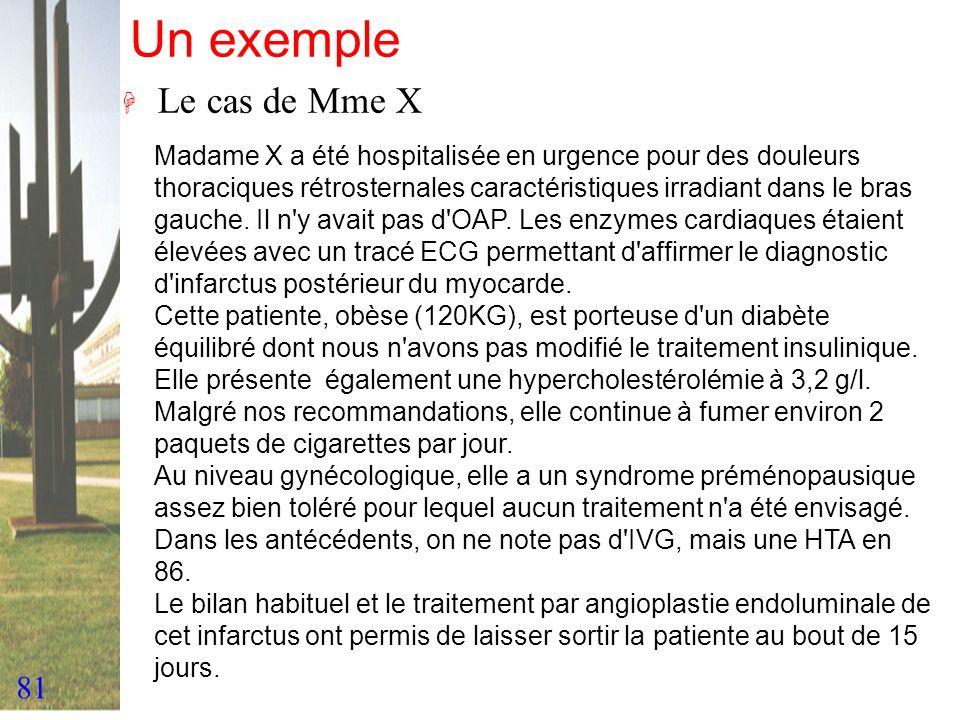 81 Un exemple H Le cas de Mme X Madame X a été hospitalisée en urgence pour des douleurs thoraciques rétrosternales caractéristiques irradiant dans le
