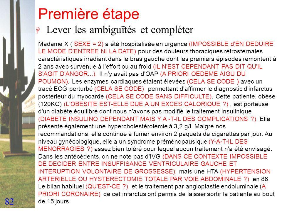 82 Première étape H Lever les ambiguïtés et compléter Madame X ( SEXE = 2) a été hospitalisée en urgence (IMPOSSIBLE d'EN DEDUIRE LE MODE D'ENTREE NI