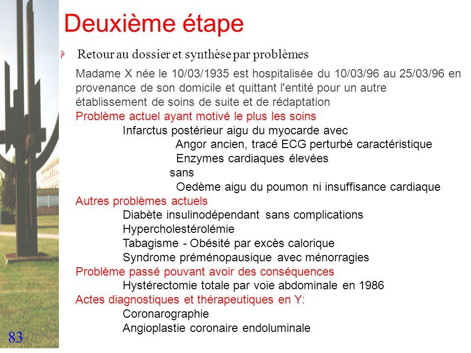 83 Deuxième étape H Retour au dossier et synthèse par problèmes Madame X née le 10/03/1935 est hospitalisée du 10/03/96 au 25/03/96 en provenance de s
