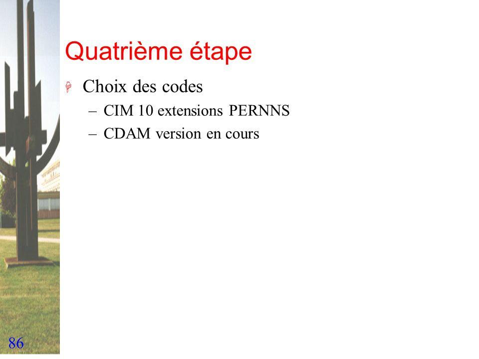 86 Quatrième étape H Choix des codes –CIM 10 extensions PERNNS –CDAM version en cours